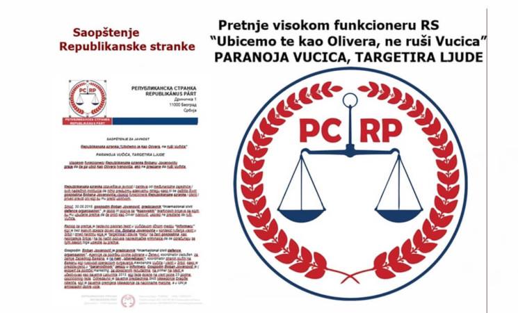 """Republikanska stranka, saopštenje:""""Ubićemo te kao Olivera, ne ruši Vučića"""""""